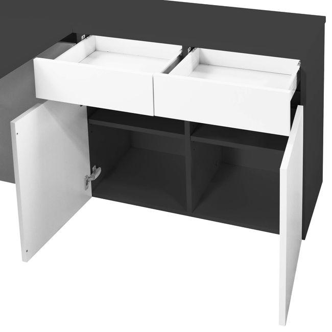 Schreibtisch AIR mit integriertem Sideboard rechts 1600 x 1600 mm Anthrazit-Weiß – Bild 24