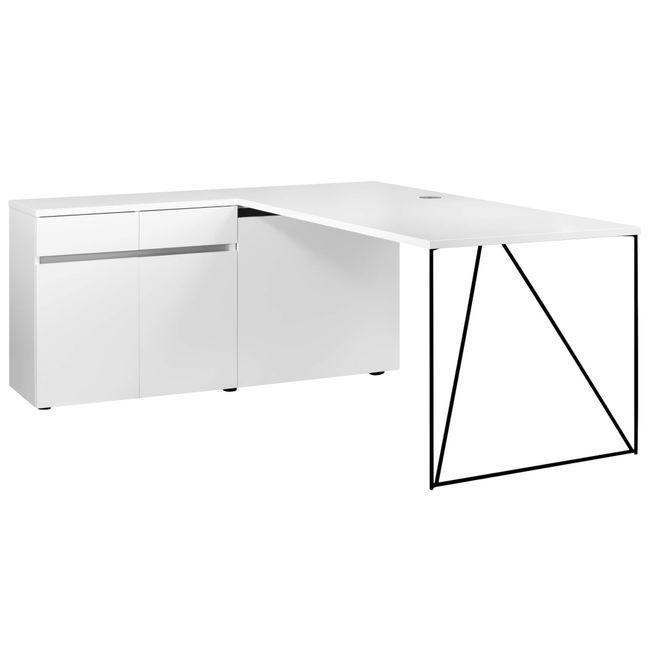 AIR Schreibtisch | Sideboard links, 1600 x 1600 mm, Weiß