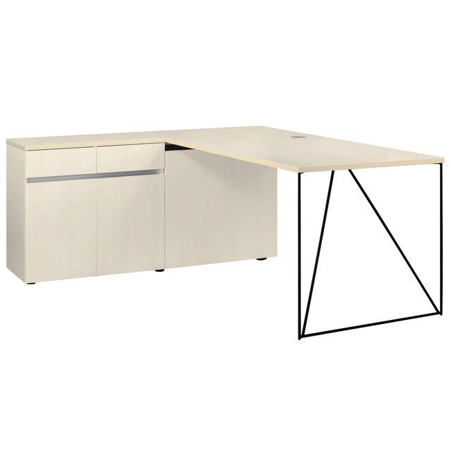 Schreibtisch AIR mit integriertem Sideboard links 1600 x 1600 mm Ahorn – Bild 13
