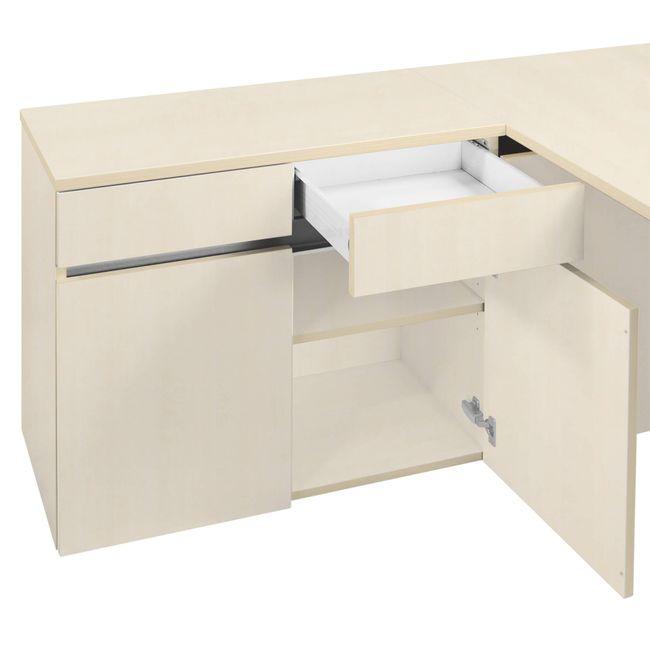 Schreibtisch AIR mit integriertem Sideboard links 1600 x 1600 mm Ahorn – Bild 16