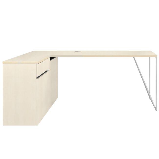 Schreibtisch AIR mit integriertem Sideboard links 1600 x 1600 mm Ahorn – Bild 5