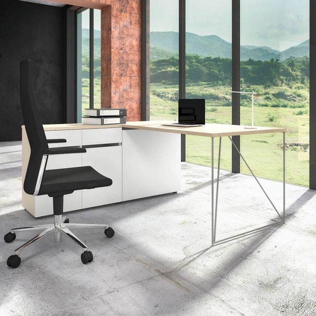 Schreibtisch AIR mit integriertem Sideboard links 1600 x 1600 mm Ahorn-Weiß – Bild 11