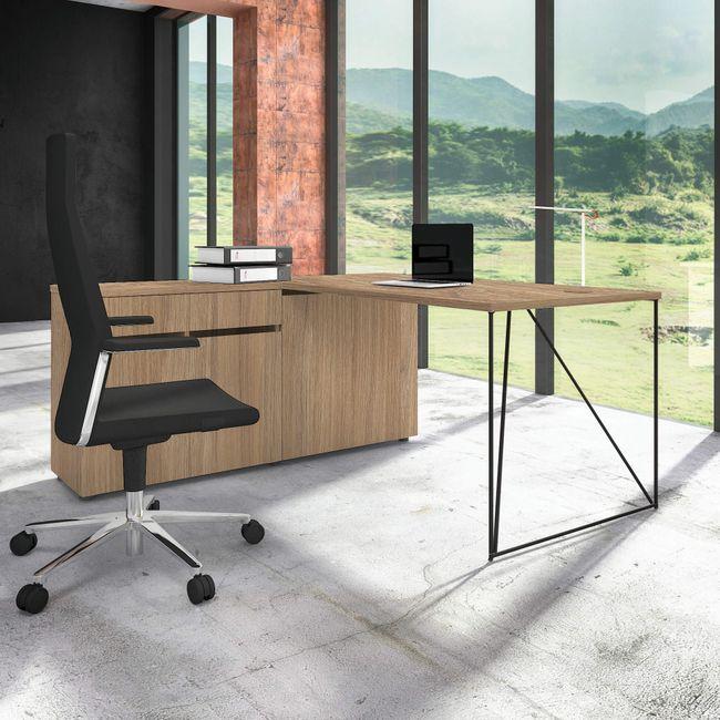 Schreibtisch AIR mit integriertem Sideboard links 1600 x 1600 mm Bernstein-Eiche – Bild 20