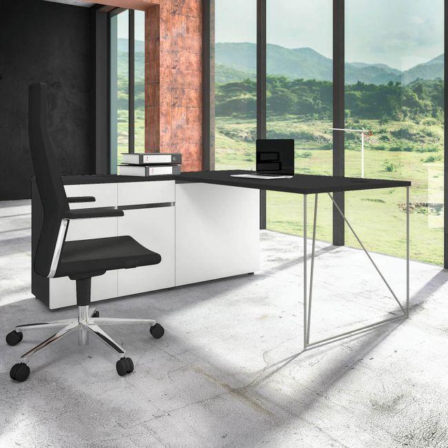 Schreibtisch AIR mit integriertem Sideboard links 1600 x 1600 mm Anthrazit-Weiß – Bild 11