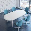 Konferenztisch oval OPTIMA 2.400 x 1.000 mm Weiß