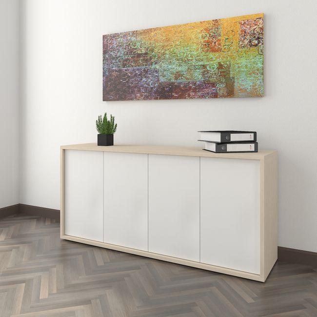 NOVA Sideboard | 2 OH, 1615 x 750 mm, Ahorn / Weiß