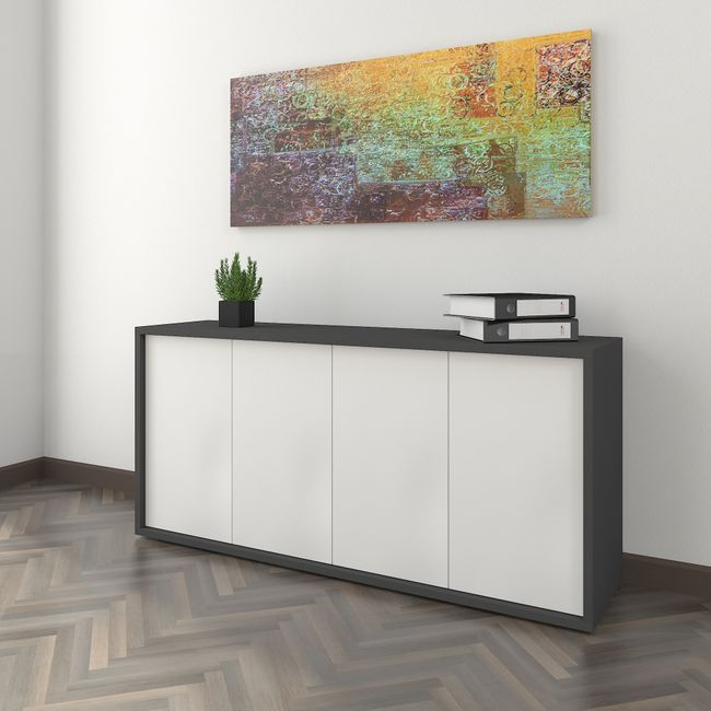 Sideboard NOVA 1.615 x 410 x 750 mm Anthrazit-Weiß Push to Open Aktenschrank Schrank