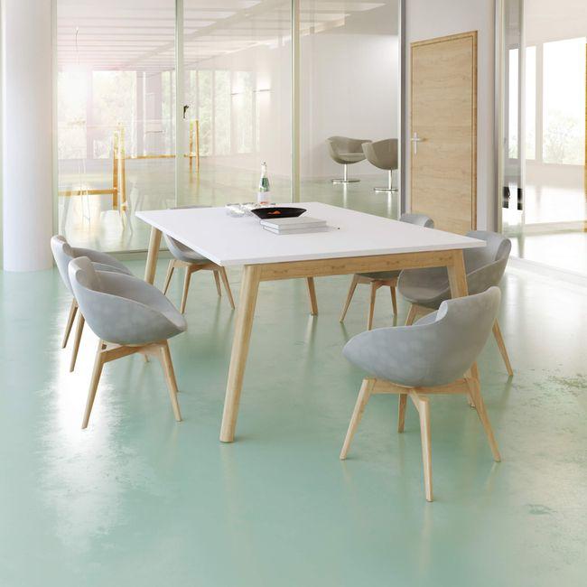 Konferenztisch NOVA Wood 1.800 x 1.200 mm Weiß Echtholzgestell – Bild 1