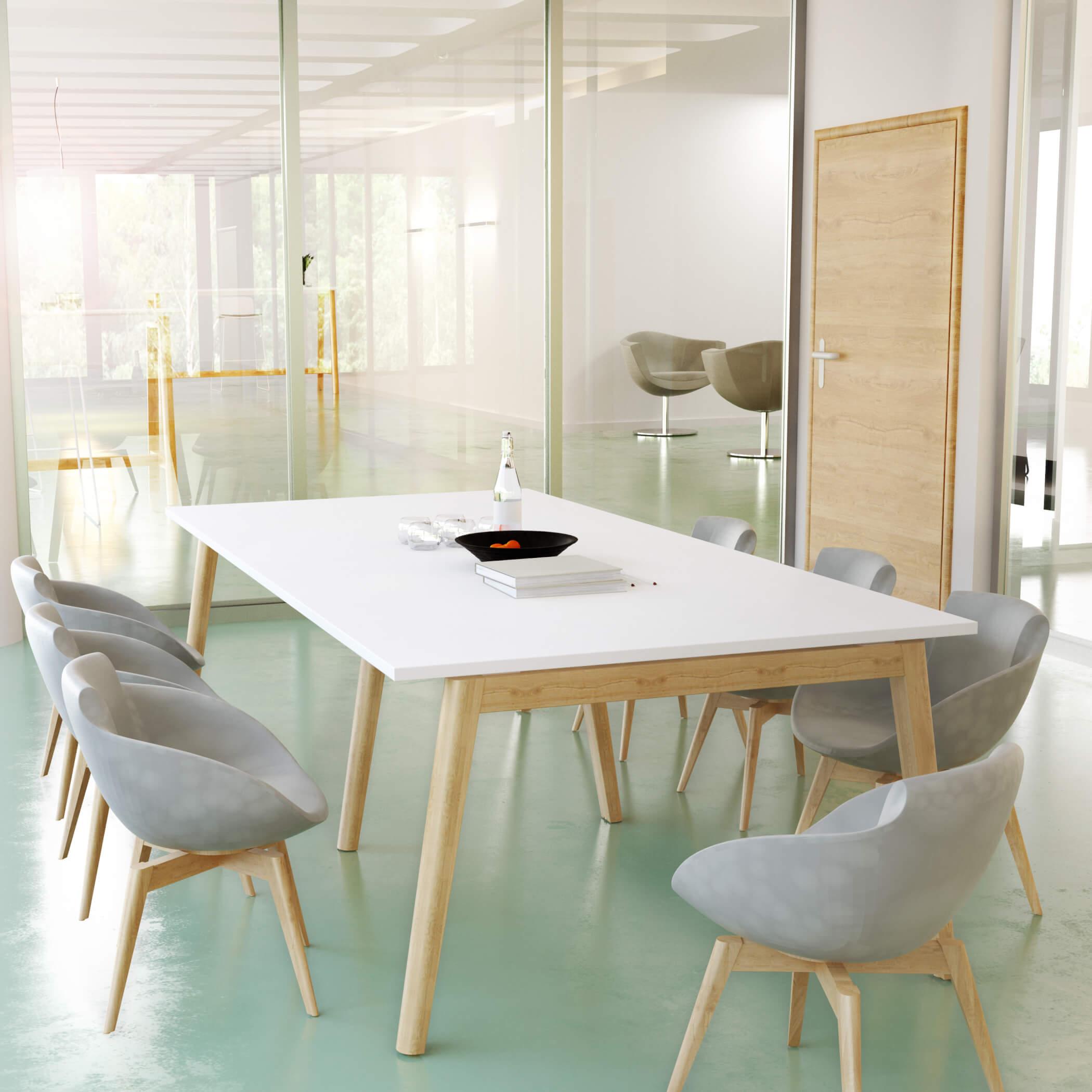 Konferenztisch NOVA Wood 240 x 120 cm Weiß/Holz Meeting Bürotisch