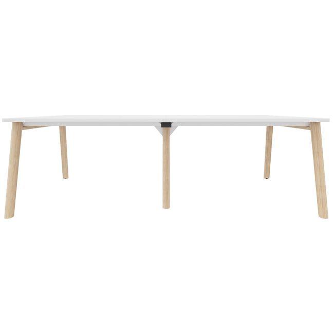 Konferenztisch NOVA Wood 2.400 x 1.200 mm Weiß Echtholzgestell – Bild 9
