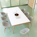 Konferenztisch NOVA Wood 2.400 x 1.200 mm Weiß Echtholzgestell
