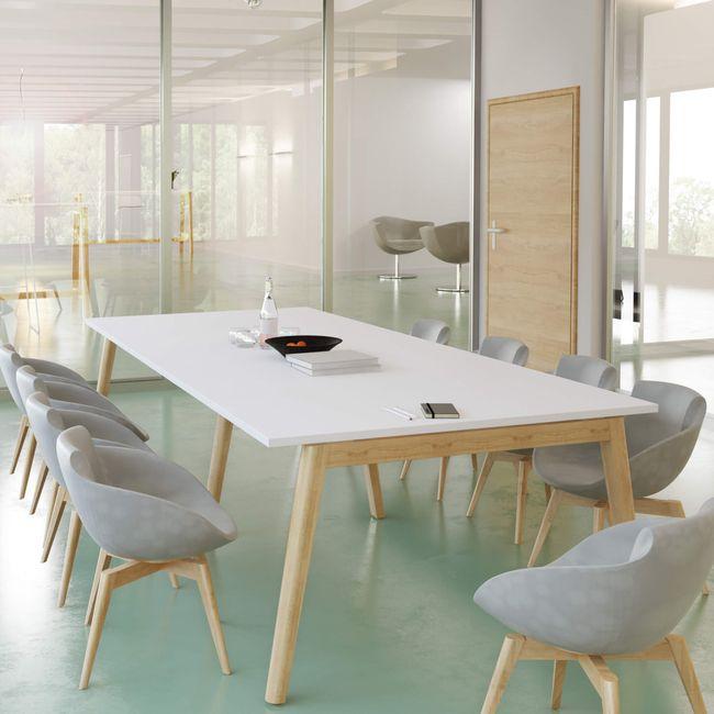 Konferenztisch NOVA Wood 2.800 x 1.200 mm Weiß Echtholzgestell – Bild 1