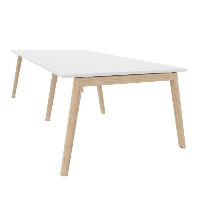 Konferenztisch NOVA Wood 2.800 x 1.200 mm Weiß Echtholzgestell – Bild 2
