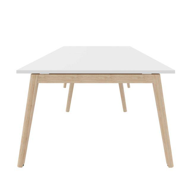 Konferenztisch NOVA Wood 2.800 x 1.200 mm Weiß Echtholzgestell – Bild 3