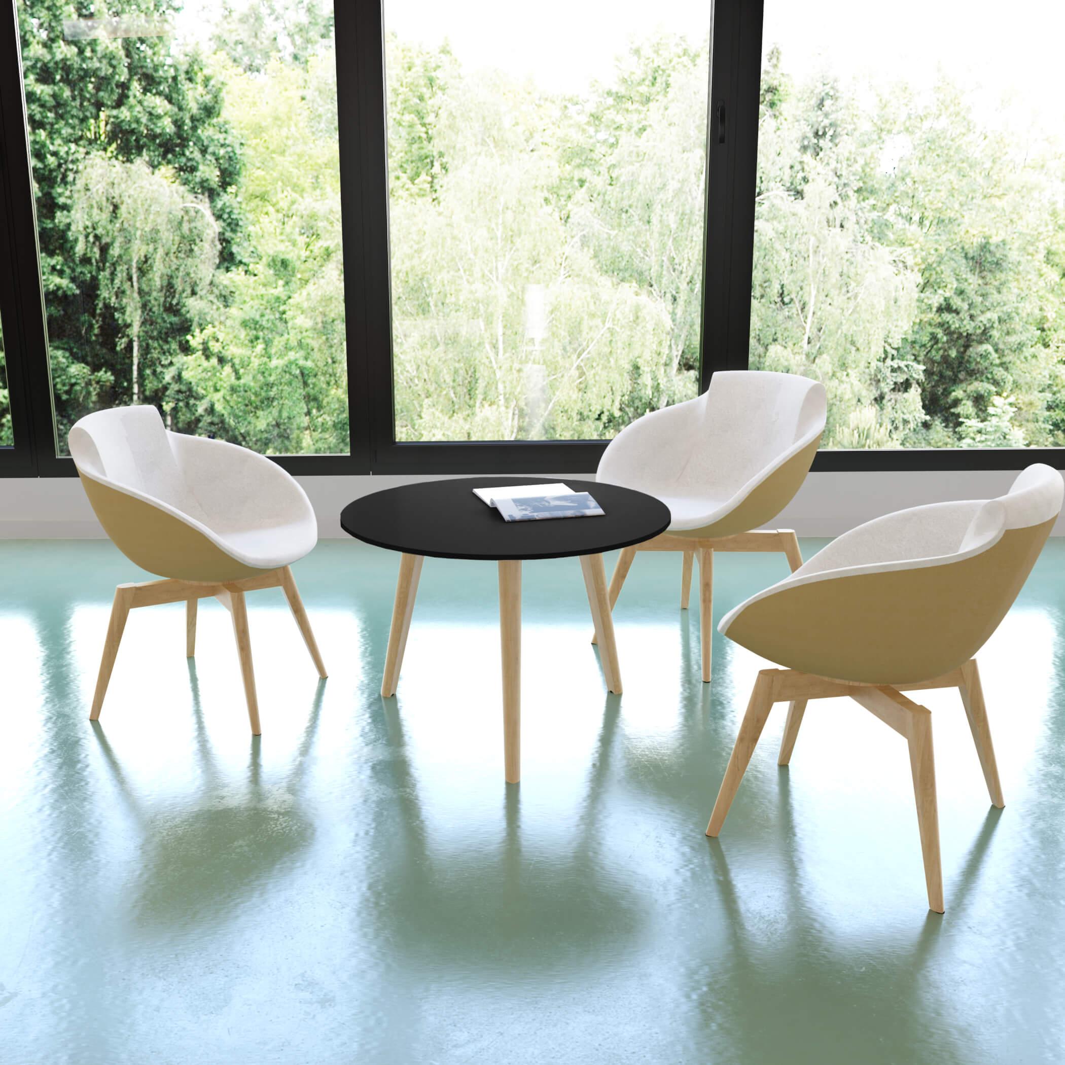 Beistelltisch NOVA Wood FENIX HPL rund Ø 700 mm Schwarz Echtholzgestell Skandi Design Couchtisch Loungetisch