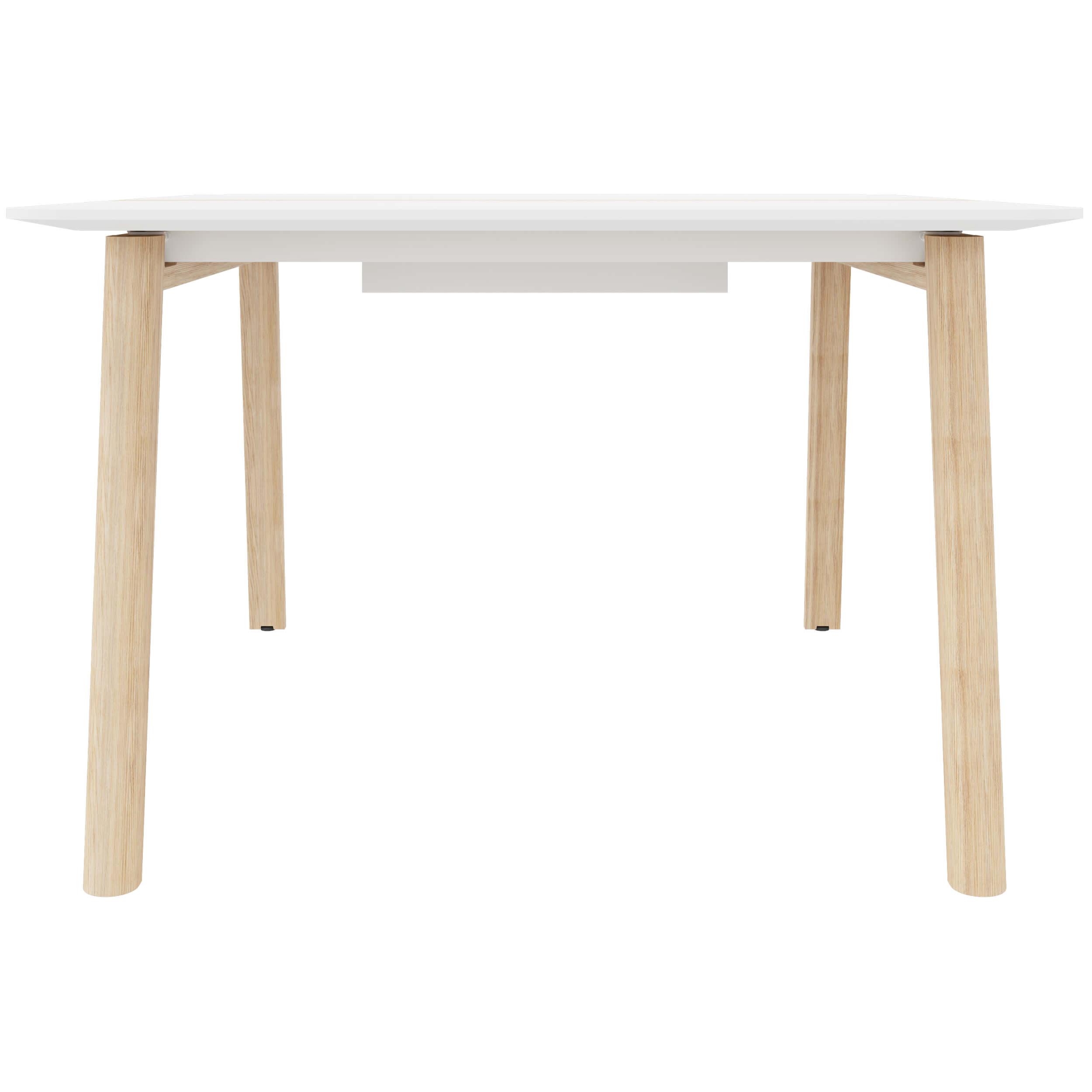 Konferenztisch NOVA Wood HPL 120 x 120 cm mit Kabeldurchlass Weiß/Holz Meeting Bürotisch