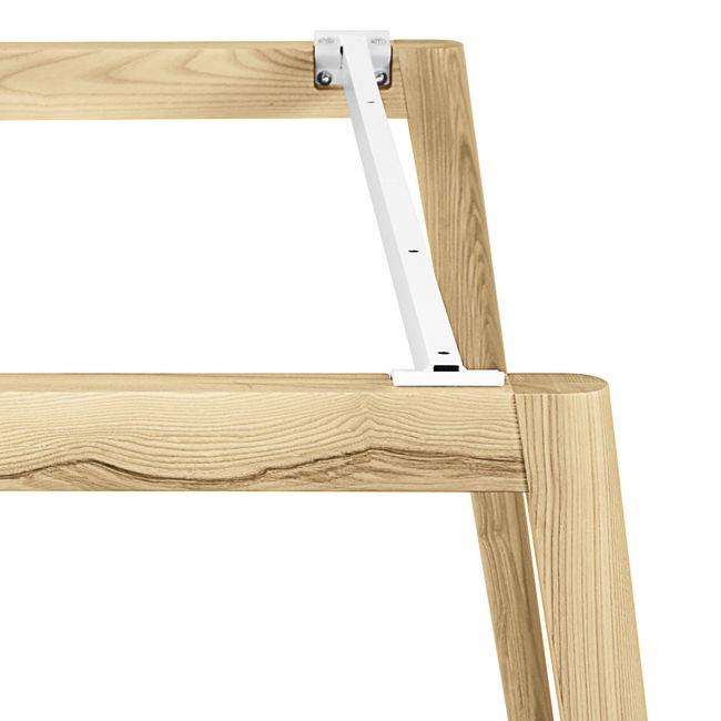 Konferenztisch NOVA Wood HPL 1.200 x 1.200 mm mit Kabeldurchlass Weiß Echtholzgestell – Bild 9