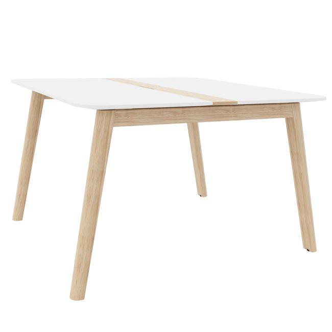 Konferenztisch NOVA Wood HPL 1.200 x 1.200 mm mit Kabeldurchlass Weiß Echtholzgestell – Bild 2