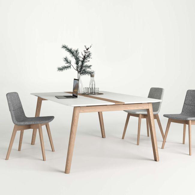 Konferenztisch NOVA Wood HPL 1.200 x 1.200 mm mit Kabeldurchlass Weiß Echtholzgestell – Bild 1
