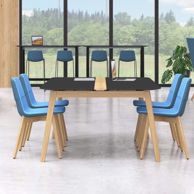 Konferenztisch NOVA Wood FENIX HPL 1.200 x 1.200 mm mit Kabeldurchlass Schwarz Echtholzgestell – Bild 1