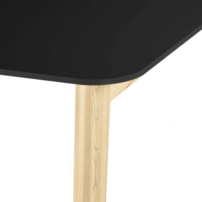 Konferenztisch NOVA Wood FENIX HPL 1.200 x 1.200 mm mit Kabeldurchlass Schwarz Echtholzgestell – Bild 6