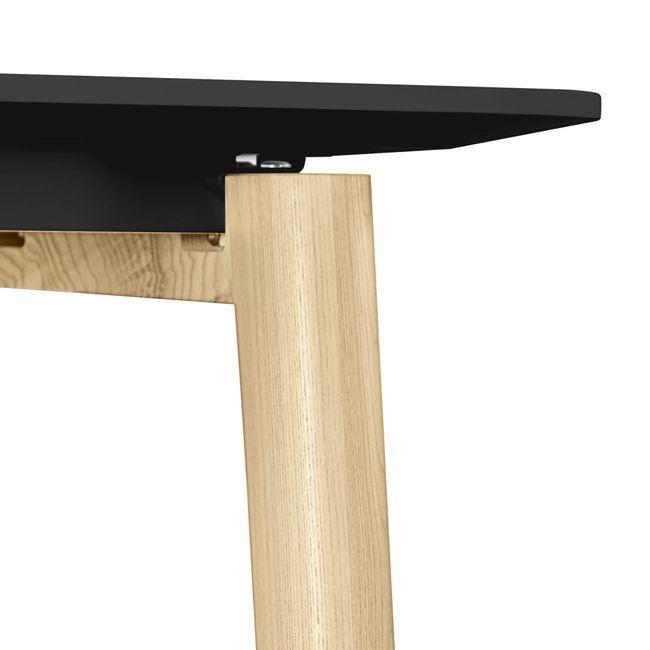 Konferenztisch NOVA Wood FENIX HPL 1.200 x 1.200 mm mit Kabeldurchlass Schwarz Echtholzgestell – Bild 5
