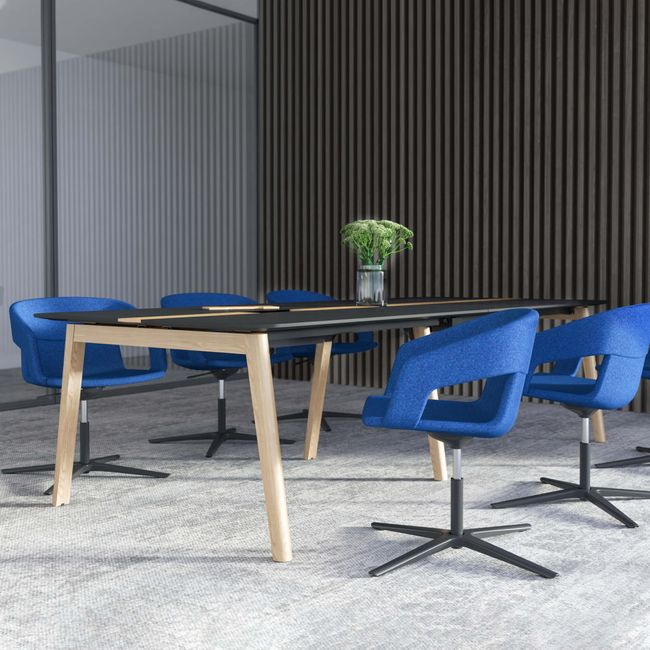Konferenztisch NOVA Wood FENIX HPL 2.800 x 1.200 mm mit Kabeldurchlass Schwarz Echtholzgestell – Bild 1