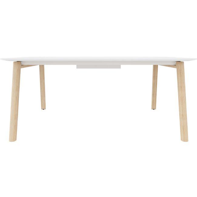 Konferenztisch NOVA Wood HPL 1.800 x 1.200 mm mit Kabeldurchlass Weiß Echtholzgestell – Bild 2