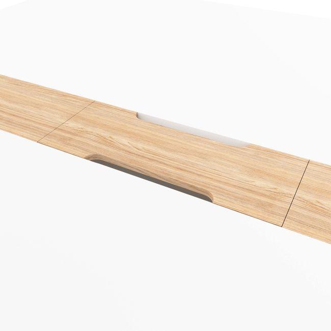 Konferenztisch NOVA Wood HPL 2.400 x 1.200 mm mit Kabeldurchlass Weiß Echtholzgestell – Bild 3