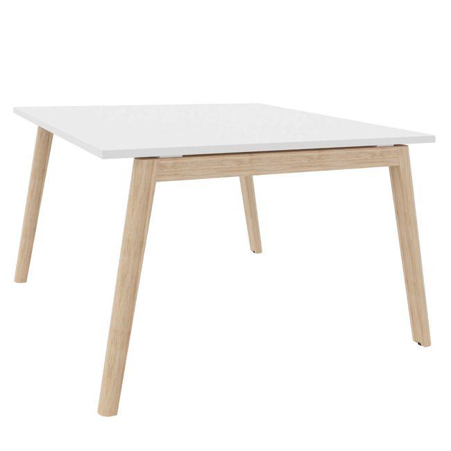 Konferenztisch NOVA Wood 1.200 x 1.200 mm Weiß Echtholzgestell – Bild 1