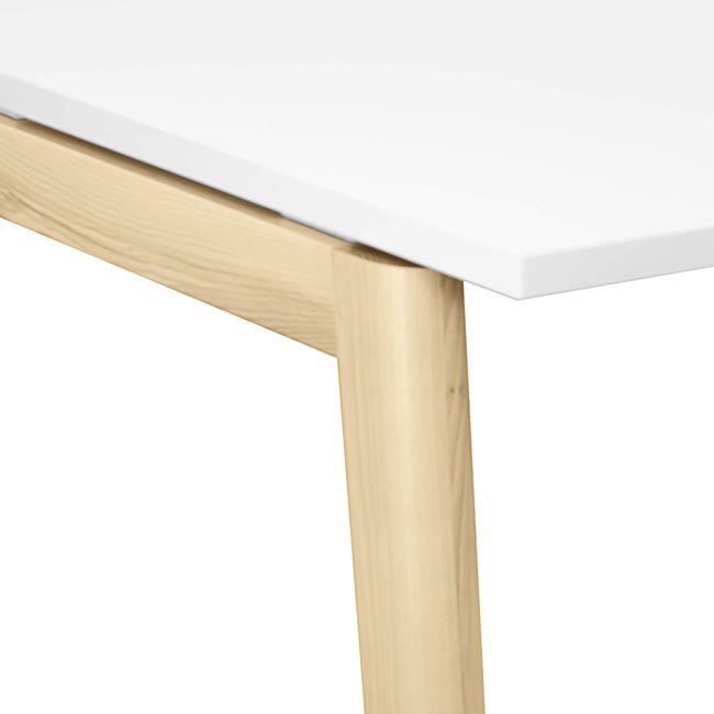 Konferenztisch NOVA Wood 1.800 x 1.200 mm mit Kabeldurchlass Weiß Echtholzgestell – Bild 4