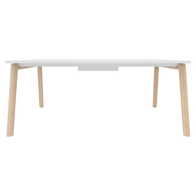 Konferenztisch NOVA Wood 1.800 x 1.200 mm mit Kabeldurchlass Weiß Echtholzgestell – Bild 8