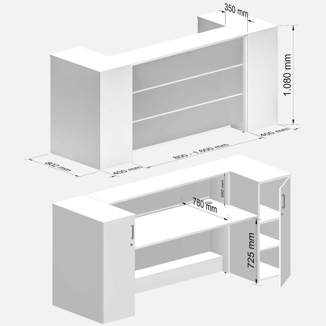 NOVUM Empfangstheke - Inklusive Montageservice   LED-Beleuchtung, Größe und Farbe wählbar