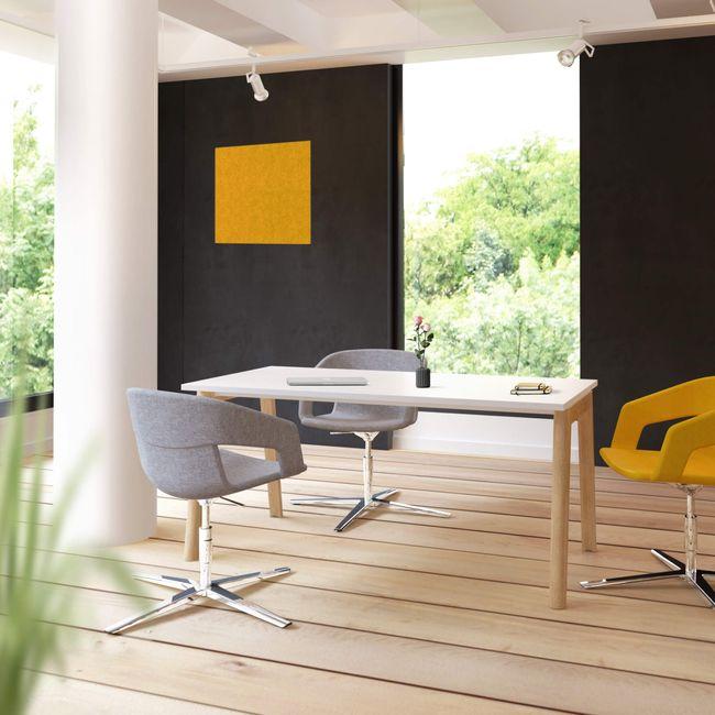 NOVA WOOD Besprechungstisch | Massivholz-Gestell, 1600 x 800 mm, Weiß