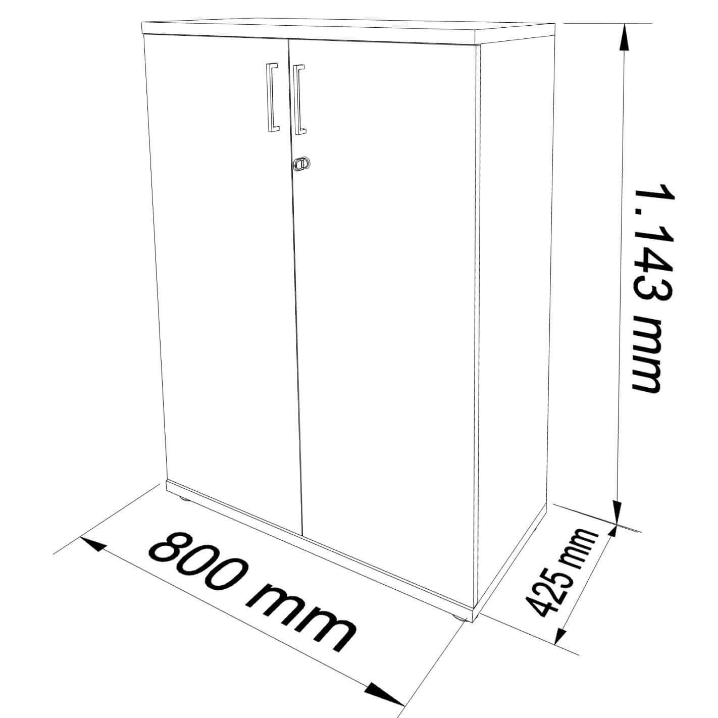 PROFI Aktenschrank abschließbar 3OH Ahorn Schrank Büroschrank Flügeltürenschrank
