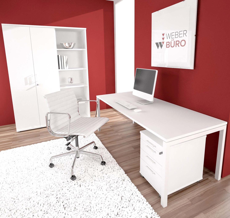 PROFI-Komplettbüro NOVA Berlin im edlen weiß Homeoffice Komplettset Büro