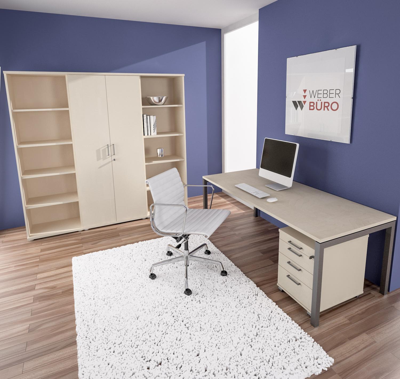 PROFI-Komplettbüro NOVA Paris in Ahorn/Silber Homeoffice Komplettset Büro