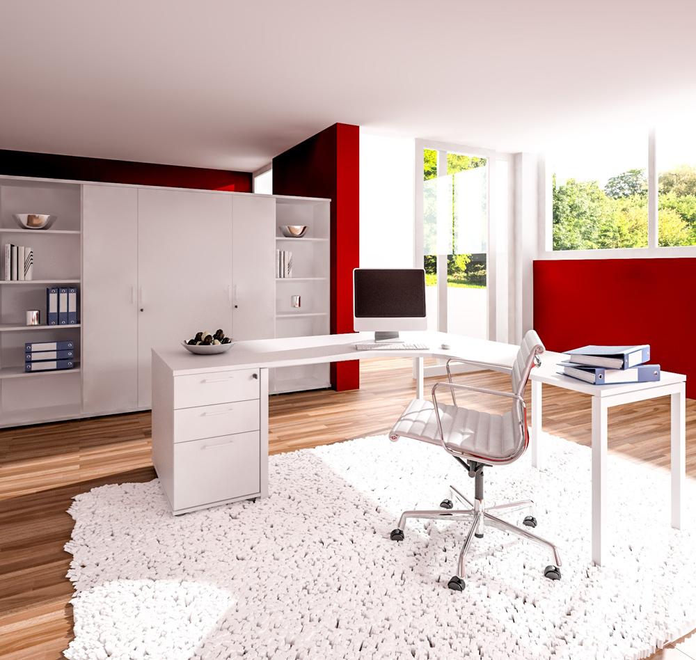 PROFI-Komplettbüro NOVA München im edlen weiß Homeoffice Komplettset Cheffbüro