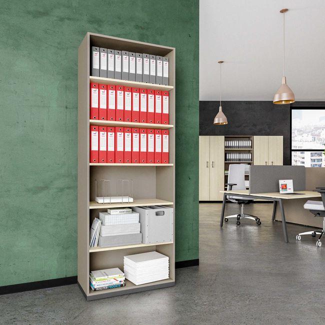 CHOICE Bücherregal | 6 OH, 800 x 2170 mm, Cubanitgrau / Sandesche