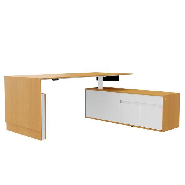 MOTION Schreibtisch mit Sideboard | Elektrisch höhenverstellbar, 2000 x 1800 mm, Esche Furnier