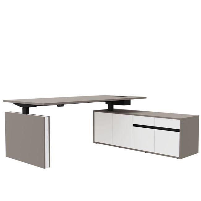 MOTION Schreibtisch mit Sideboard | Elektrisch höhenverstellbar, 2000 x 1800 mm, Perlgrau