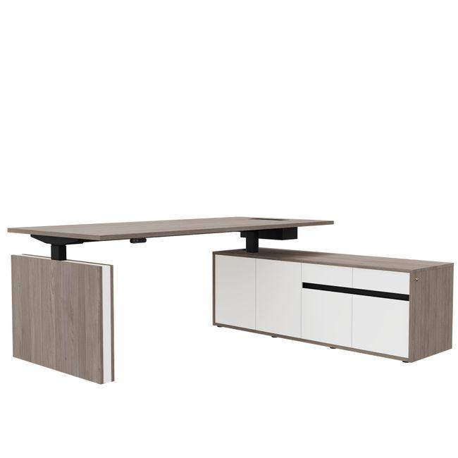 MOTION Schreibtisch mit Sideboard   Elektrisch höhenverstellbar, 2000 x 1800 mm, Nordeiche grau