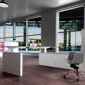 MOTION Schreibtisch mit Sideboard   Elektrisch höhenverstellbar, 2000 x 1800 mm, Cubanitgrau