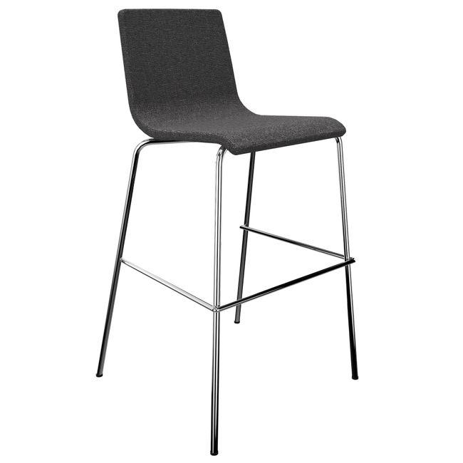 MOON Barhocker   Stapelbar, 4-Fuß-Gestell, Gepolsterte Sitzfläche, Polyesterbezug BERTA