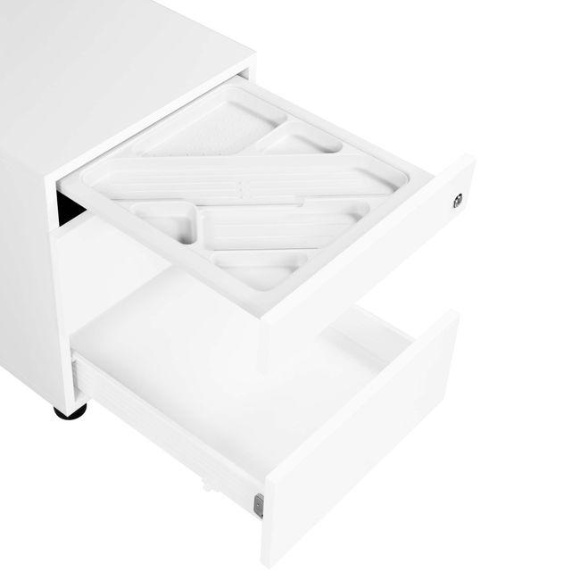 NOVA Rollcontainer   2 XL-Schubladen + 1 Kleinteilefach, 600 mm tief, Weiß