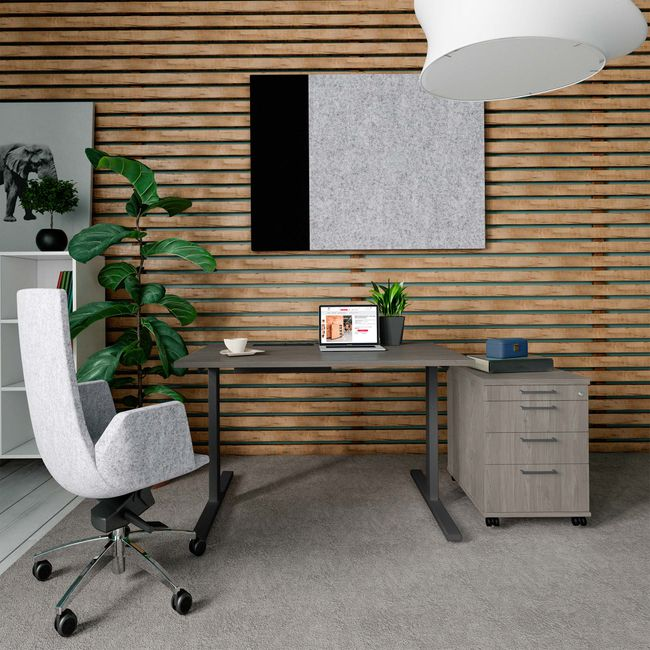 T-EASY Schreibtisch | 1200 x 800 mm, Elektrifizierung, Nordeiche grau