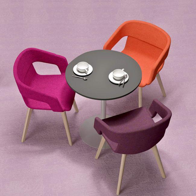 TWIST&SIT Lounge-Sessel   Massivholz-Gestell, Wollbezug SYNERGY