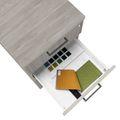 OPTIMA Rollcontainer | 3 Schubladen + 1 Kleinteilefach, 600 mm tief, Nordeiche grau
