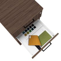OPTIMA Rollcontainer | 3 Schubladen + 1 Kleinteilefach, 600 mm tief, Nussbaum