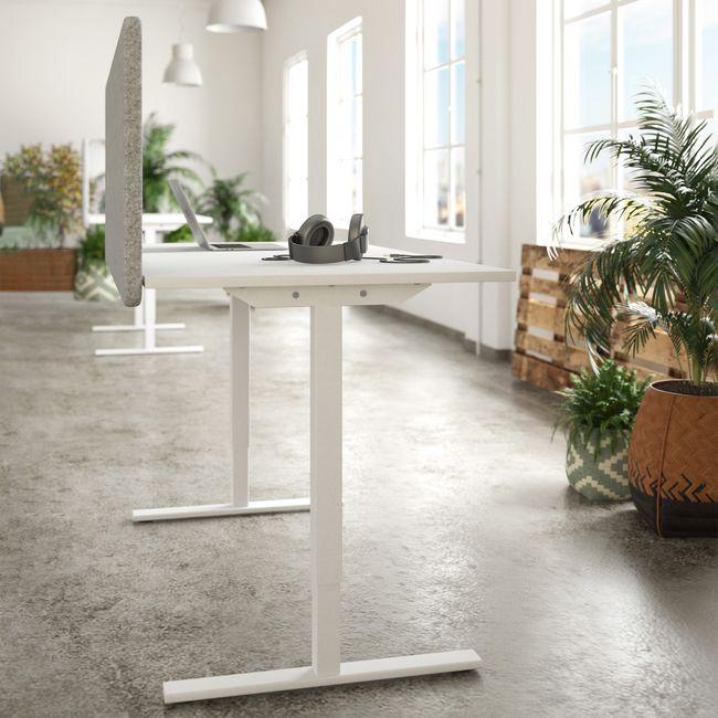 ONE H Schreibtisch | Manuell höhenverstellbar, 1400 x 800 mm, Nordeiche grau